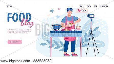 Website Template For Food Blogging Or Food Hunter Review, Foodie Blog For Social Media. Food Blogger