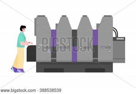 Man Working On Equipment For Offset Polygraphy, Cartoon Flat Vector Illustration Isolated On White B