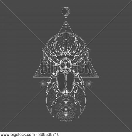 Vector Illustration With Hand Drawn Stag Beetle And Sacred Geometric Symbol On Black Vintage Backgro