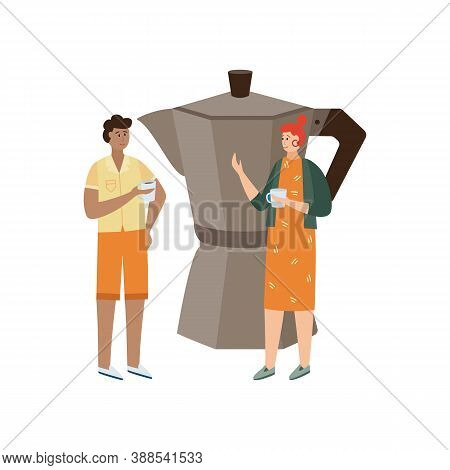 Coffee Shop Visitors With Cups Of Coffee A Flat Isolated Vector Illustration