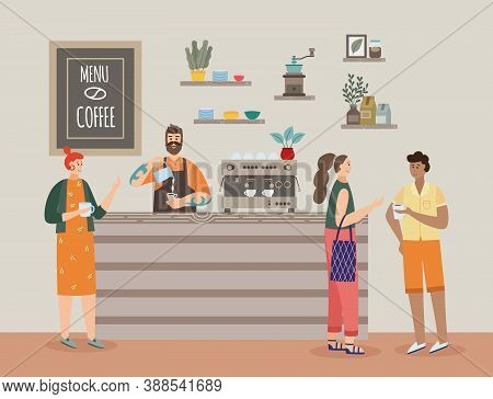 Interior Of Coffee Shop With Barista And Cafe Visitors A Vector Flat Illustration