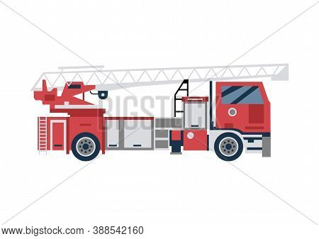 Red Firetruck With Top Tower Ladder, Emergency Vehicle In Flat Style