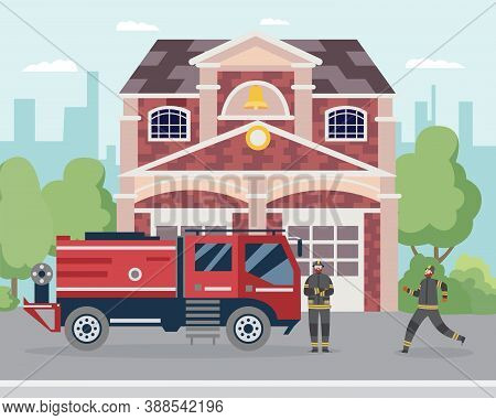 Fire Station Building Exterior With Firetruck And Cartoon Firemen