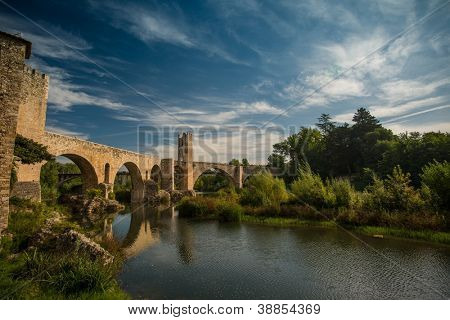 Romanesque bridge over river, Besalu