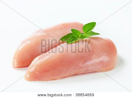 Dietetic chicken fillet isolated decorated basil