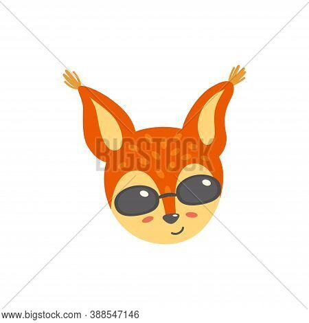 Squirrel Head In Sunglasses. Satisfied Emoticon. Vector Illustration Of Squirrel In Flat Style