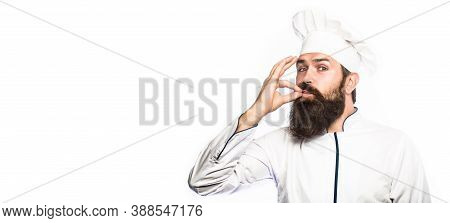 Chef, Cook Making Tasty Delicious Gesture By Kissing Fingers. Bearded Chef, Cooks Or Baker. Bearded