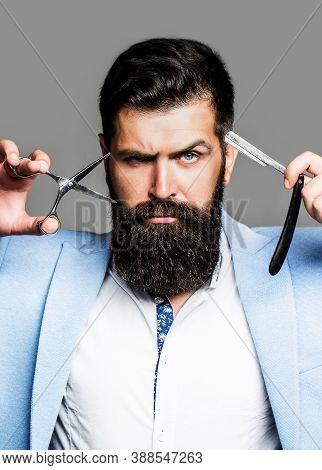 Barber Scissors And Straight Razor, Barber Shop. Beard Man, Bearded Male. Portrait Beard Man. Barber