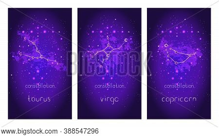Set Of Three Cards With Zodiac Constellations And Hand Drawn Lettering Against The Starry Sky. Colle