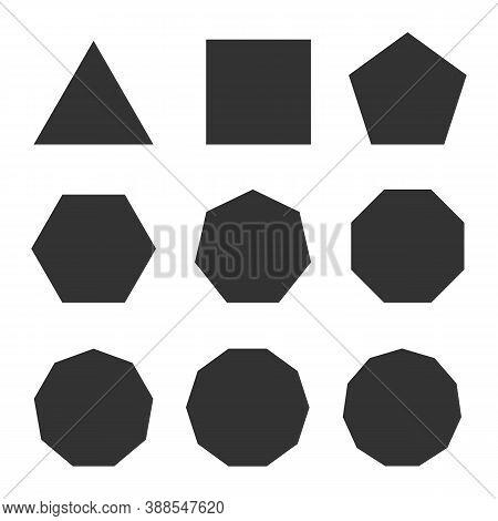 Symbol Of Line Polygon, Triangle, Quadrilateral, Pentagon, Hexagon, Heptagon, Octagon, Nonagon, Deca