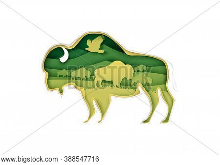 Large Buffalo Silhouette With Prairie Landscape, Bird, American Bison Inside, Vector Illustration In