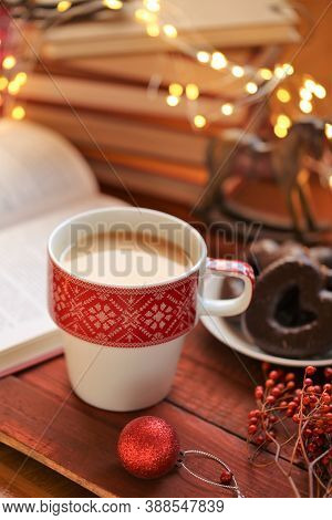 Winter Tea.winter Break And Holidays Time. Cozy Winter Reading Concept. Books For Christmas And New