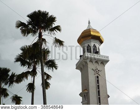 Bandar Seri Begawan, Brunei, January 25, 2017: Palm Trees Next To One Of The Minarets Of The Sultan