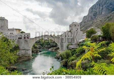 Mostar, Bosnia and Herzegovina - Neretva river and Old Bridge poster