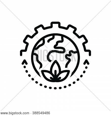 Black Line Icon For Sustain Keep Continue Harbor Harbour Leaf Earth Environmental Eco Green Planet