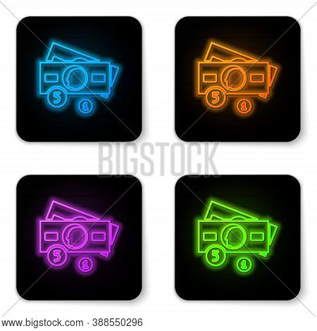 Glowing Neon Stacks Paper Money Cash Icon Isolated On White Background. Money Banknotes Stacks. Bill
