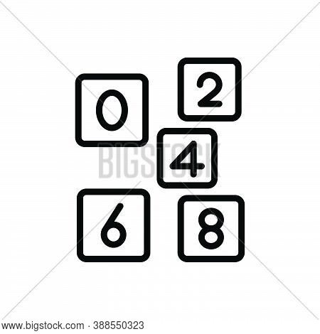 Black Line Icon For Even Number Count Digit  Mathematical Calculated Numerical Letter Date