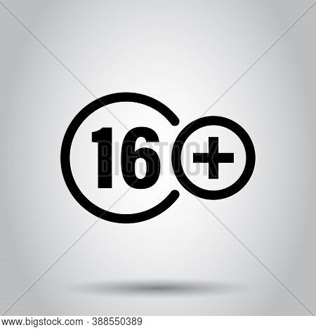 Sixteen Plus Icon In Flat Style. 16 Vector Illustration On White Isolated Background. Censored Busin