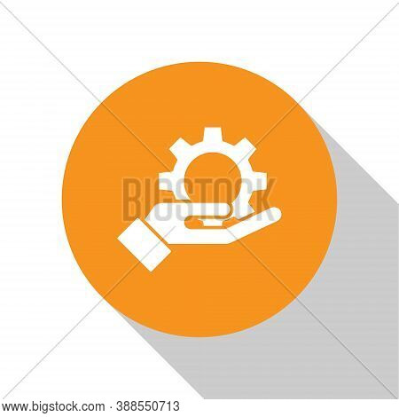 White Hand Settings Gear Icon Isolated On White Background. Adjusting, Service, Maintenance, Repair,