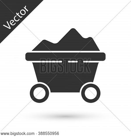 Grey Coal Mine Trolley Icon Isolated On White Background. Factory Coal Mine Trolley. Vector Illustra