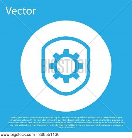 Blue Shield With Settings Gear Icon Isolated On Blue Background. Adjusting, Service, Maintenance, Re