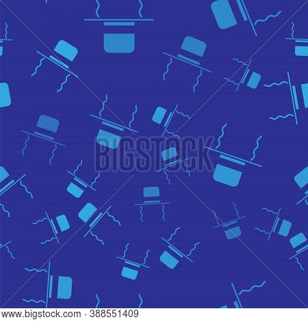 Blue Orthodox Jewish Hat With Sidelocks Icon Isolated Seamless Pattern On Blue Background. Jewish Me