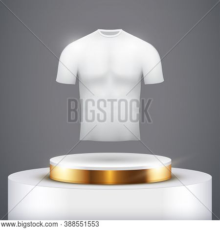 Black Presentation Circle Podium With T-shirt And Gold Line Level. Clothing And Apparel Mockup. Edit