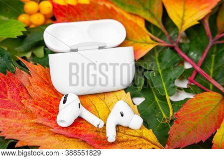 Rostov, Russia - August 26, 2020: Wireless Headphones Apple Airpods Pro In Opened Charging Case, Act