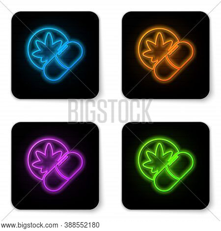 Glowing Neon Herbal Ecstasy Tablets Icon Isolated On White Background. Black Square Button. Vector I