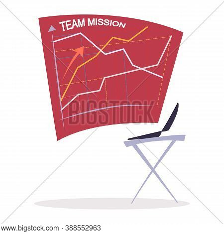 Schedule With Growth Arrow On Cell Board And Laptop Wireless Device. Planner With Team Mission And R