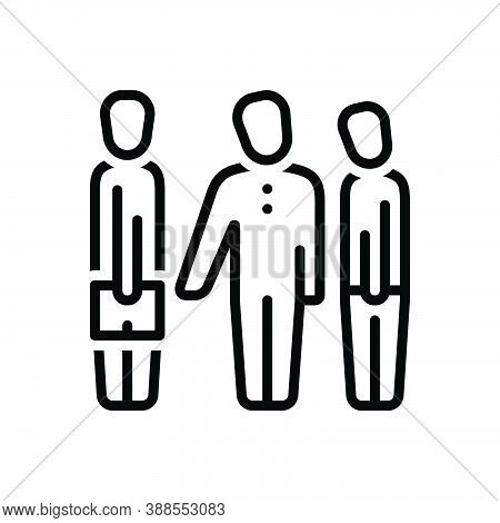 Black Line Icon For Introduction Acquaintance Familiarization Agreement Corporate People Business-ma