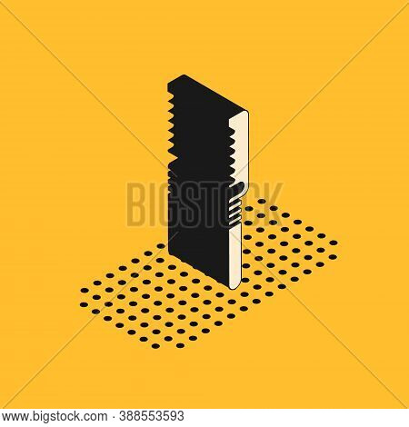 Isometric Medical Saw Icon Isolated On Yellow Background. Surgical Saw Designed For Bone Cutting Lim