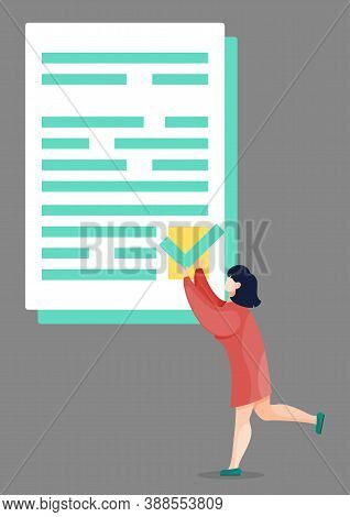 Woman With Check Mark On Document, Effective Time Management Concept. Vector Girl With To Do Sign In