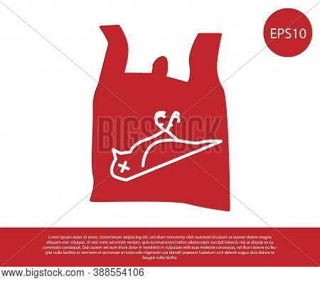 Red Dead Bird, Plastic Icon Isolated On White Background. Element Of Pollution Problems Sign. Vector