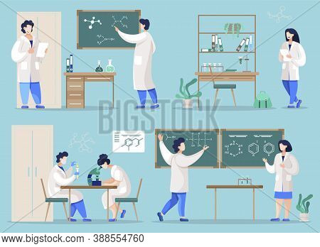 Students Learning Chemical Sciences In College Or University. Chemists In Lab Conducting Research, W