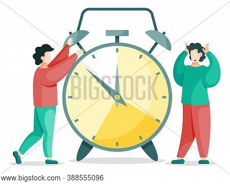 Effective Time Management, People Near Retro Clock Isolated. Vector Illustration Of Unhappy People I