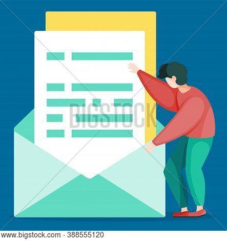 Optimization Of Paper Work, Little Man With Big Documents In Envelope. Vector Illustration Effective