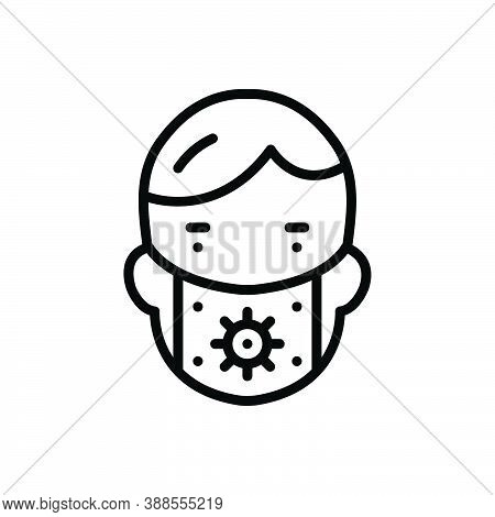 Black Line Icon For Preserve Mask People Conserve Defend Keep Perpetuate Face-mask Protect Safeguard