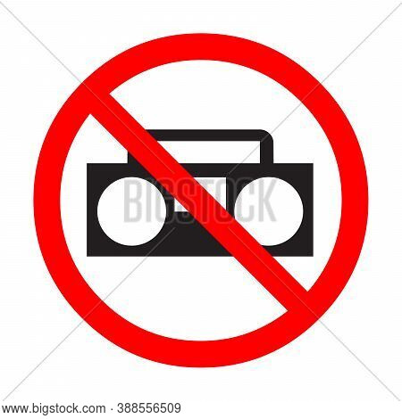 No Radio And Music Sign With A White Background