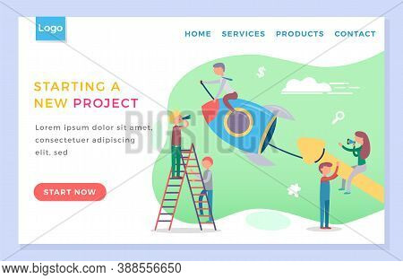 People Starting New Project Together. Launch Of Rocket Like Start Of Business, Startup. Team Working