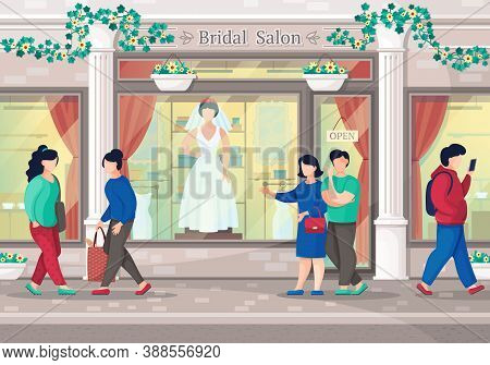 Couple Go To Shopping In Wedding Dress Boutique. City Bridal Salon. Bridal Shower Composition In Sho