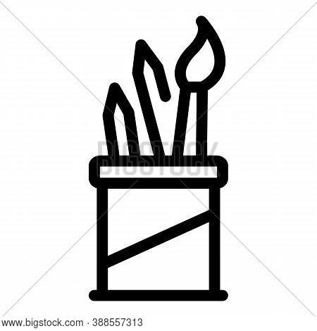 Pen Holder Icon. Outline Pen Holder Vector Icon For Web Design Isolated On White Background