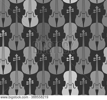 Violins, Gray, Seamless Pattern. Grey Violins On A Grey Field. Color, Flat Decor. Vector.