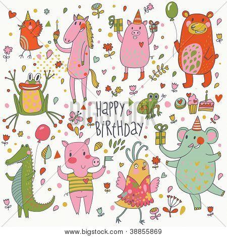 Happy birthday. Funny cartoon vector set with bear, frog, horse, pig, bid, crocodile and elephant