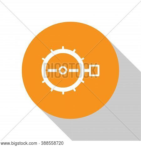 White Trap Hunting Icon Isolated On White Background. Orange Circle Button. Vector