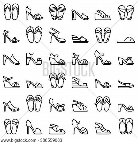 Sandals Icons Set. Outline Set Of Sandals Vector Icons For Web Design Isolated On White Background