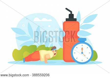 Tiny Chubby Man Doing Pushup Exercise, Huge Scales And Healthy Food, Overweight Man Character Doing