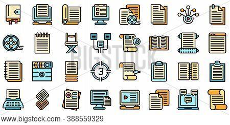Scenario Icons Set. Outline Set Of Scenario Vector Icons Thin Line Color Flat On White
