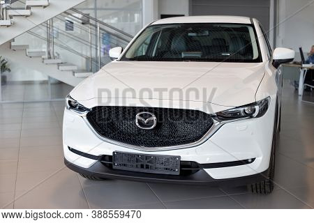 Russia, Izhevsk - August 06, 2020: New Modern Crossover Cx-5 In The Mazda Showroom. Front View.