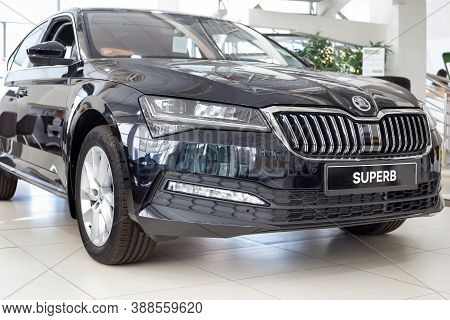 Russia, Izhevsk - September 25, 2020: New Car Business Class Superb In The Skoda Showroom. Front And